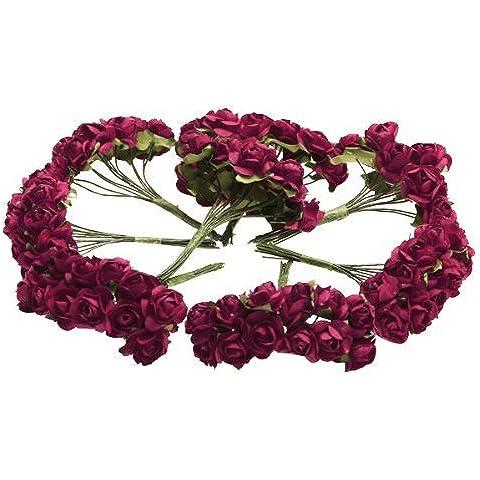 Gleader 144 PCs. Mini papel Rosa Flores de la boda para embarcaciones favor de la boda (rojo)