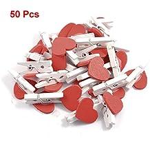 Pinzas de ropa - TOOGOO(R) 50pzs Clips de memorandum pinzas de ropa de resorte de madera blanca de acento del corazon rojo