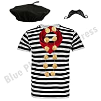 """Blue Planet Fancy Dress ® COMPLETE Mens French Man Costume Striped T Shirt, Beret, Scarf, Garlic Garland & Moustache (Large 42-44"""" Chest)"""