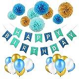 Pomisty Decoración Cumpleaños, Decoraciones Fiesta de Cumpleaños 40 Packs con 1 Happy Birthday Bandera +30 Pack Globos Perlados + 9 Pack Tissue Pom Poms, Party Supplies