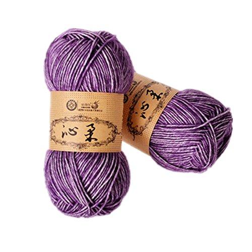 2 a maglia di filo di cotone per uncinetto, di cotone, per bambino, DK, 7 diversi colori Purple and