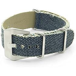 DASSARI Shred Frayed Edge Canvas Distressed NATO Zulu Watch Strap in Blue 22mm