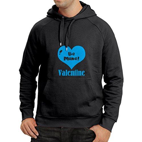 Kapuzenpullover Be My Valentine, lieben Sie zitiert, große St (XXX-Large Schwarz Blau)