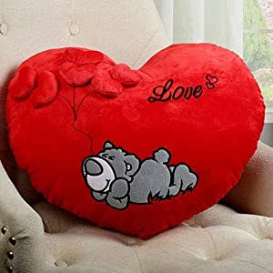 Frantic Pandora Huggable Love Heart Shape Soft Plush Stuffed Cushion Pillow Toy, Red