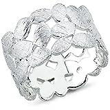 Vinani Ring Laub Blätter Kranz Design gebürstet massiv breit offen Sterling Silber 925 Blumenkranz Lorbeerkranz Größe 58 (18.5) 2RTX58