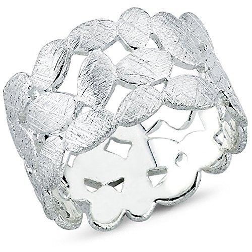 Vinani Ring Laub Blätter Kranz Design gebürstet massiv breit offen Sterling Silber 925 Blumenkranz Lorbeerkranz Größe 54 (17.2) 2RTX54