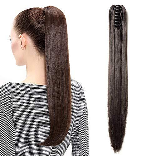 """TESS Pferdeschwanz Haarteil Ponytail Extensions Haarverlängerung Clip in Synthetik Haare für Zopf Haarteil Hair Extensions Glatt 21""""(53cm)-140g Dunkelbraun"""