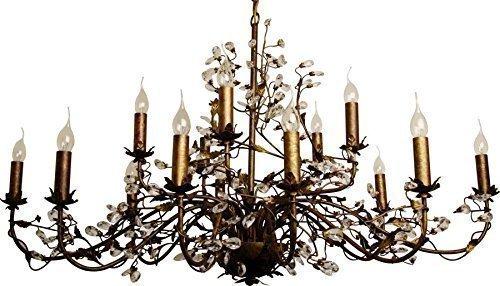 KRONLEUCHTER \'EVITA\' BRAUN / MESSING 15-FLAMMIG OVAL 120x70cm DURCHMESSER AUS METALL MIT KRISTALLEN UND BLÄTTERN