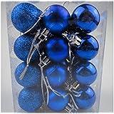 SMARTBUYER 24pcs Christmas Decoration Hanging Blue Balls Small Christmas Tree Decor Ball Bauble Hanging Home Xmas Party Ornament Decor