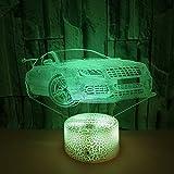 Coloré tactile 3D lumière de nuit voiture de sport 3D LED stéréo vision voiture lumière de nuit 3D lampe de table