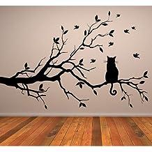 Gato En Rama de Arbol Pegatina de Pared. Arte de Pared Animal disponible en 5 tamaños y 25 colores Grande Negro