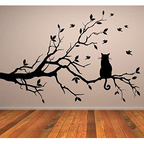 Cat On Branch Wall Sticker Animal Adesivo Art disponibile in 5 dimensioni e 25 colori Extra-Small Turchese