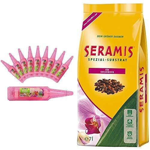 Dehner Orchideen Vitalkur, 10 Stück, je 20 ml & Seramis Ton-Granulat für Orchideen, Spezial-Substrat, 7 Liter
