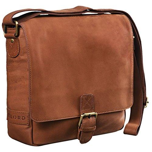 STILORD 'Timo' Vintage Messenger Bag Leder klein für Herren und Damen Moderne Umhängetasche für 10.1 Zoll Tablet iPad DIN A5 Cross Body Bag Echtleder, Farbe:Sattel - braun
