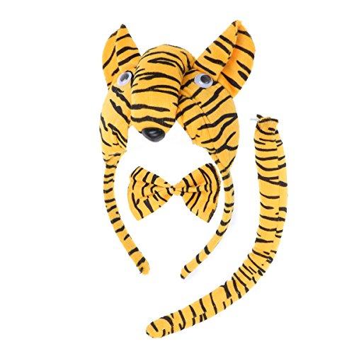 Set Tiger Kostüm Tail & Ohren - Amosfun 3 Stücke Tier Kostüm Ohren Stirnband Bowtie Tail Set für Kinder Party Cosplay Kostüm Zubehör (Tiger)