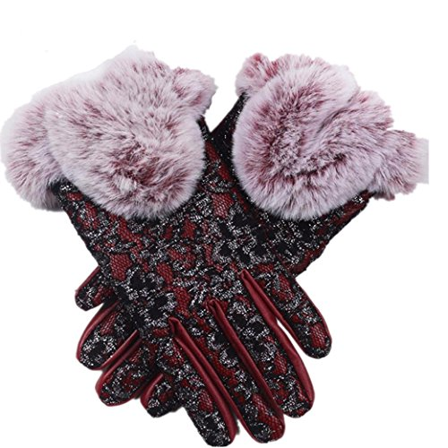 Handschuhe Damen Longra Frauen Mädchen Winter Handschuhe Super Warm PU Leder Driving Soft Futter Elegant Handschuhe (Red)