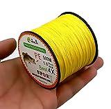 hengjia 500m Fil Polyéthylène Tressé 4de Tissages lignes de pêche 0,14?0,5mm 15?80lbs articles de pêche Jaune - jaune - 28lbs(12.7kg)