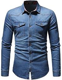 Chemises Jean Hommes Automne Hiver Vintage en Détresse Solide Denim à Manches Longues T-Shirt Top Blouse|Nouveau T-Shirt Fit |Chemise Confort |Bermuda Boom Pullover |Polo Chemise