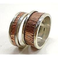 Anillo de compromiso o aniversario en plata y cobre, con texto personalizado . Precio por