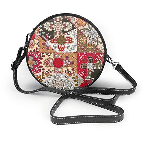 Wrution Vector Patchwork Quilt-Muster Dekorative Collage Rund Cross-Body Reißverschluss Schultertasche weiches Leder Kreise Geldbörse für Damen -
