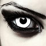Lenti a contatto colorate bianco pauroso 17 millimetri mini sclera occhio pieno senza diottrie per Halloween zombie costume + gratis caso di lenti Modello 'Zombie Giant'