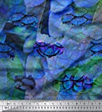 Soimoi Blau Baumwolljersey Stoff Fisch & Feder Tierhaut