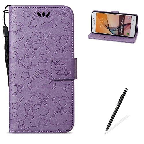 MAGQI For Samasung Galaxy J5 Prime Hülle Leder,[Free 2 in 1 Stylus] Mit Unicorn Muster Flip Schutzhülle PU Wallet Brieftasche Ledertasche im Bookstyle Tasche- Lila
