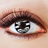 Farbige Kontaktlinsen Schwarz Weiß Ohne Stärke mit Motiv Linsen Halloween Karneval Fasching Cosplay Kostüm Black White Eyes Schwarze Weiße Augen