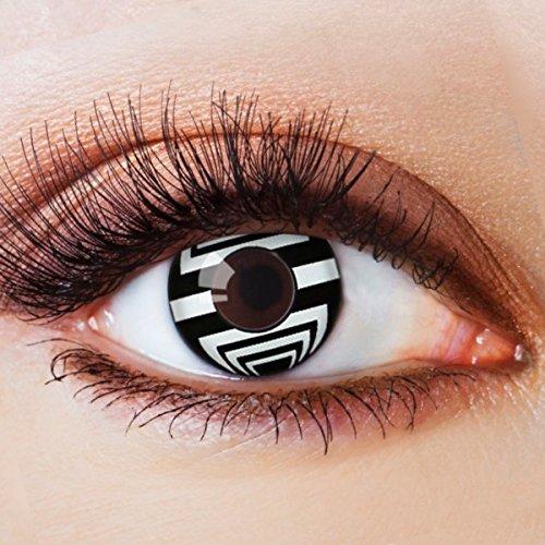 Farbige Kontaktlinsen Schwarz Ohne Stärke mit Motiv Schwarze Fun Linsen für Halloween Karneval Party Fasching Cosplay Kostüm Black White