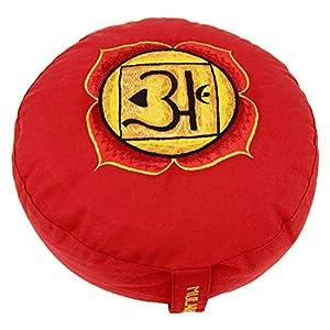 Meditation Kissen rot 1. Chakra bestickt