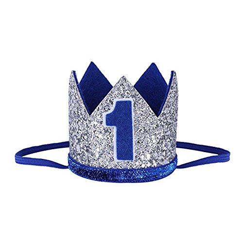Pasabideak 1ra fiesta de cumpleaños corona con números baby boy girl 1 año tocado de fiesta sombrero princesa príncipe corona accesorios de decoración accesorios para sesión de fotos
