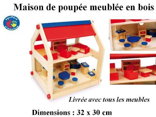 Maison en bois meublée pour poupée ou playmobils