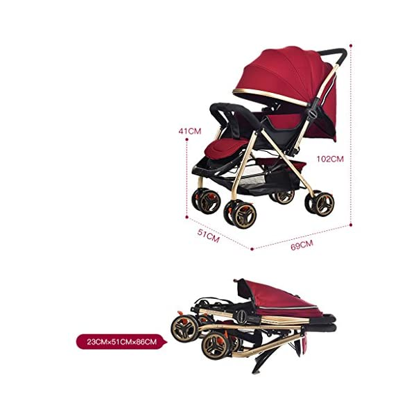 Luxury Baby Stroller Light High-Landscape Pram Portable Folding Umbrella Baby Carriage Baby Stroller on The Airplane (Color : Red) AILI-pushchairs Ten wheel front wheel four-wheel suspension, built-in bearing steering flexible four-wheel shock absorber to reduce bumps. It can be used to sit and recline freely to adjust the seasons. The measured width is wide and comfortable, creating a comfortable sleeping environment for the baby. 2