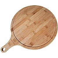 Tabla de pizza bambú - aproximadamente ø 30cm - Elegante Plato para pizza / Tablero de pastel caliente / Bandeja con asa