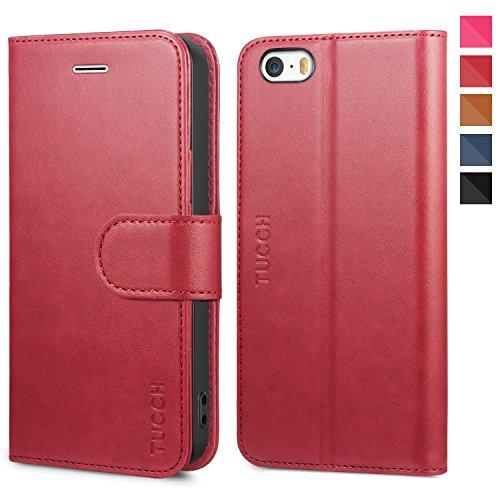 TUCCH iPhone SE Hülle, 5s Handyhülle im [Buchstil] [Softer TPU] Schutzhülle PU-Lederhülle Handytasche [Aufstellfunktion] Kartenfach Magnet Kompatibel für iPhone SE/5S/5, Rot