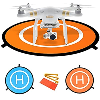 "HowiseAcc 30"" / 75 cm Drone Landing Pad with 3 ABS Land Nails and 8 Reflective Pasters Fast-Fold Portable Collapsible Helipad Launch Pad with Carrying Bag for DJI Spark Mavic Pro Phantom 2/3/4/4 Pro Inspire 1 and Other Brand Drones(Blue & Orange)"