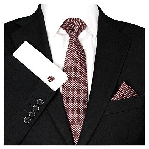 te Krawattenset Wein-Rote Karo-Muster, Schmale Skinny Slim Hochzeitskrawatte Herrenschlips Einstecktuch Manschettenknöpfe ()