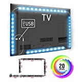 TOP-MAX® LED TV Strip Lights 200CM 5V RGB 5050 for 40-60 inch TV PC Monitor Back Lights Colour Changing (2X40+2X60CM)(No Remote control Included)