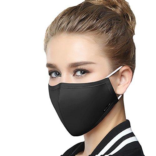 Unisex Staubschutzmasken - Couple Modisch Atemschutzmasken Outdoor-Aktivitäten Mundschutzmaske Foldable Mask mit Einstellbar Gurt Halbmaske Anti Staub Maske (Dame Schwarz)