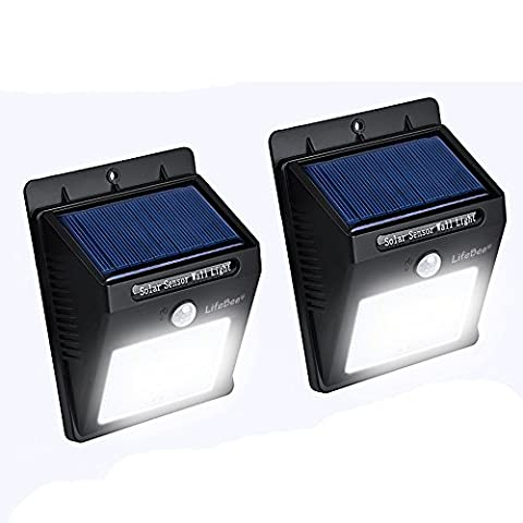16 LED Solarleuchte Garten, Kungix Solar Wandleuchte Solarlampe mit Bewegungssensor LED Aussenleuchten Solarbetriebene Lampe für Balkone, Terrassen, Garagen, Einfahrt & Treppen usw. (Schwarz -2