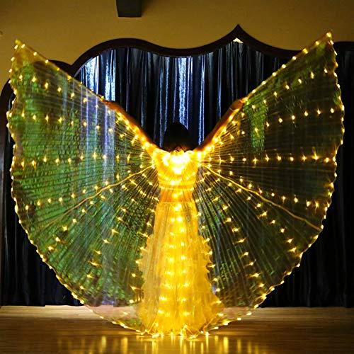 D Isis Wings Leuchten Mit Stöcken Tanzfee Eröffnung Bauchtanz Wings Bühnenaufführung Requisiten Karneval Halloween,Yellow ()
