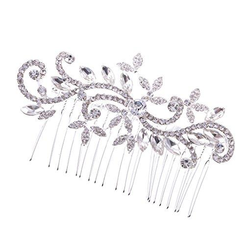 Peigne à Cheveux Décoratif Feuille Fleur en Strass pour Mariée