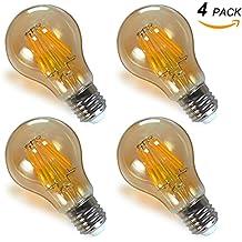 Lamparas Bombillas Globo Edison de Filamento LED Vintage Decorativas E27 8W con Vidrio Retro Iluminacion Luz Calida 2400K Pack de 4 de Enuotek