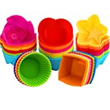 Silikon Backformen KYG 60 Stück Muffinförchen für Muffin Cupcake und Brownie wiederverwendbareFörmchen aus hochwertigem Silikon mit 5 Formen in 6 Farben Backförmchen