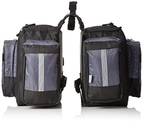 M-Wave Traveller - Alforjas para portaequipajes de bicicleta 3 compartimentos, 62 L, color negro y gris.