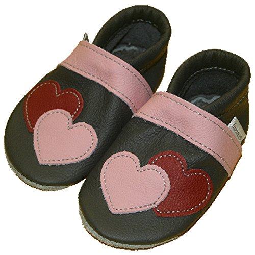 Krabbelschuhe/Babyschuhe formreich anthrazit Herz
