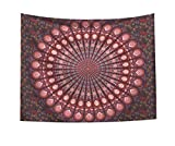 Vioaplem Wandteppich Mandala, Psychedelic Tapestry Türkis Wall Hanging, Traditionelle Indische Tapisserie Wandbehang, Bunt Ombre Wand Tucher 200 x 150cm