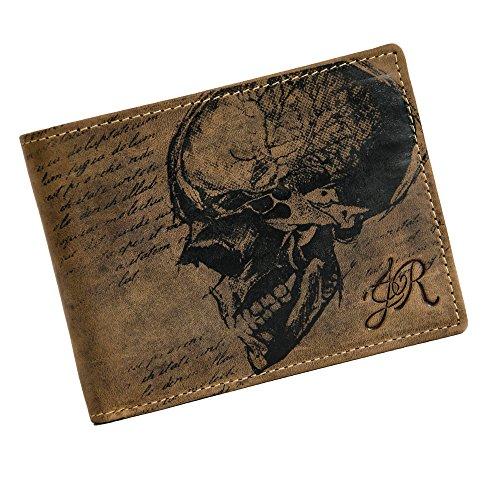 """Preisvergleich Produktbild Jack's Inn 54 Kollektion Jack the Ripper -Leder Börse """"Slash"""" braun Geldbörse Skull"""