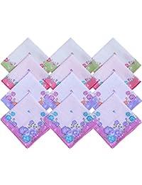 S4S Women's Cotton Handkerchief (HK15, Multicolour, Medium) - Pack of 12