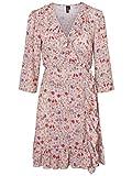Vero Moda Damen Kleid knielang Sommer Party Blumen V- Ausschnitt rosa s m l xl (Rosa, M)